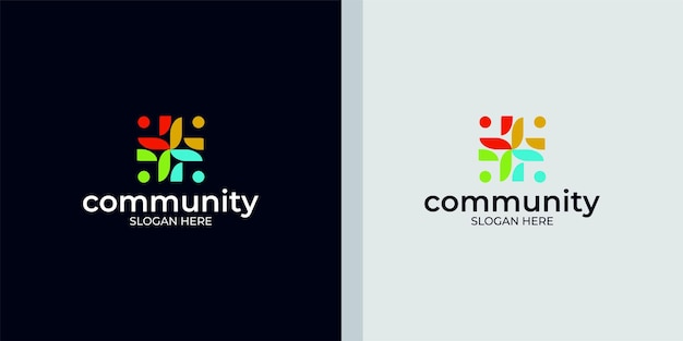 Reeks creatieve kleurrijke sociale groepslogo's en visitekaartjes