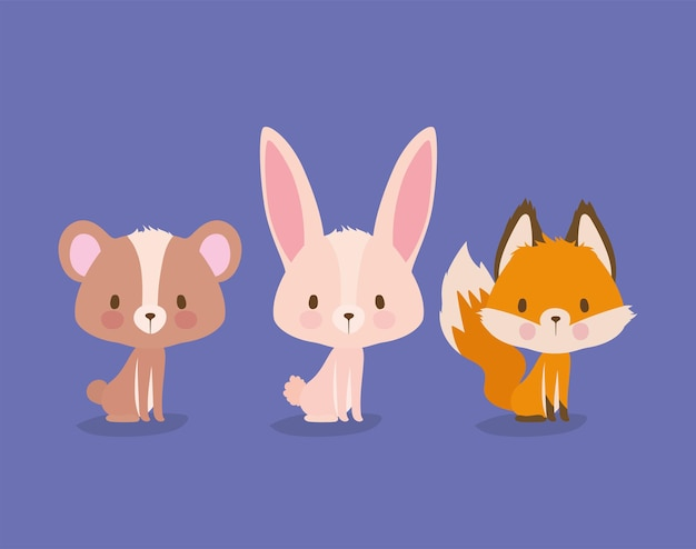 Reeks cutesdieren op een purper illustratieontwerp als achtergrond