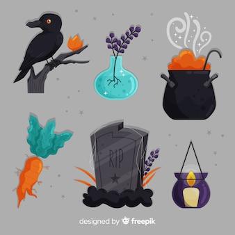 Reeks decoratieve elementen van halloween op grijze achtergrond
