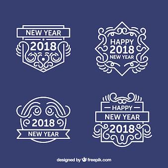 Reeks decoratieve nieuwe jaaretiketten