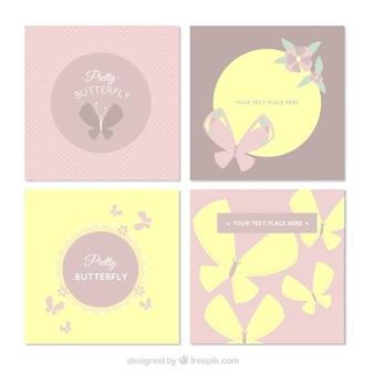 Reeks decoratieve vlinders kaarten