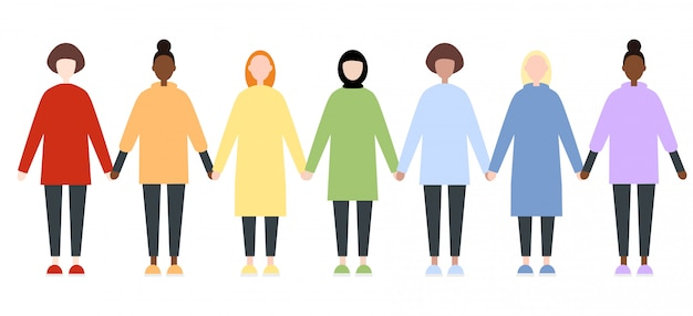 Reeks diverse ras vrouwelijke karakters in regenboogkleren