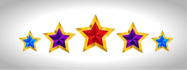 Reeks eenvoudige gouden kleurrijke sterren, eps 10 nieuwjaarkerstmis