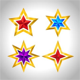 Reeks eenvoudige gouden kleurrijke sterren nieuwe jaarkerstmis