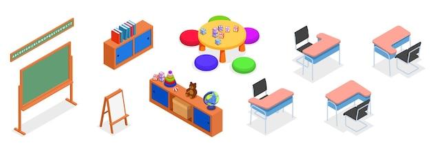 Reeks elementen en meubilair van een klaslokaal