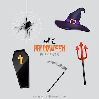 Reeks elementen in realistische stijl voor halloween ontwerp