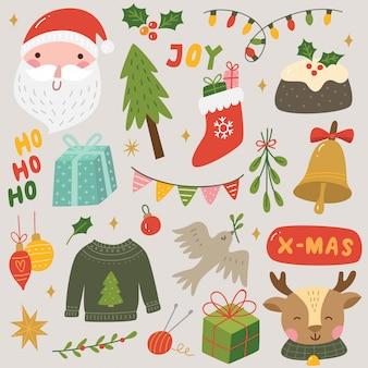 Reeks elementen van het plakboek van kerstmis en van het nieuwjaar