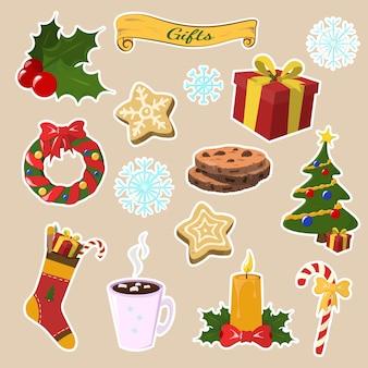 Reeks elementen van pictogrammen vrolijke kerstmis