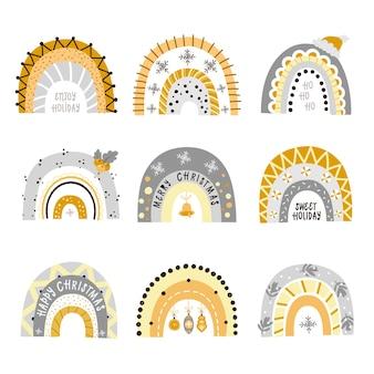 Reeks feestelijke glanzende regenbogen. cliparts voor het ontwerp van kerstkaarten voor kinderen, kamers, kleding