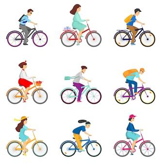 Reeks fietsers die fietsen berijden op witte achtergrond