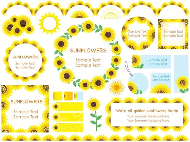 Reeks geassorteerde zonnebloemkaders, grenzen, en markeringen, vectorillustratie