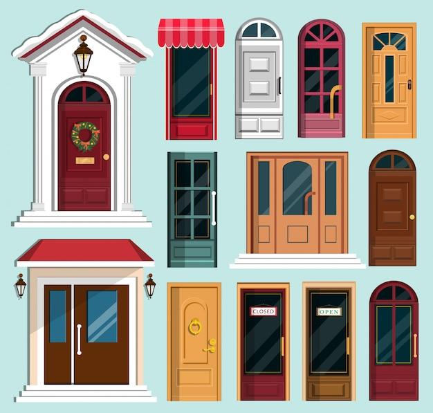 Reeks gedetailleerde kleurrijke voordeuren naar particuliere huizen en gebouwen. voordeur met kerstkrans. vlakke stijl illustratie.