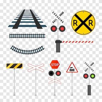 Reeks gedetailleerde spoorwegwaarschuwingsborden die op wit worden geïsoleerd.