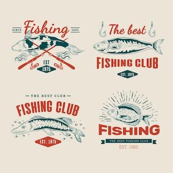 Reeks gedetailleerde vintage visserijbadges