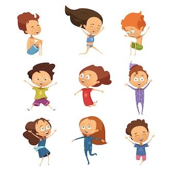 Reeks geïsoleerde leuke beeldverhaalbeelden van grappige springende kleine jongens en meisjes in retro stijl vlakke vect