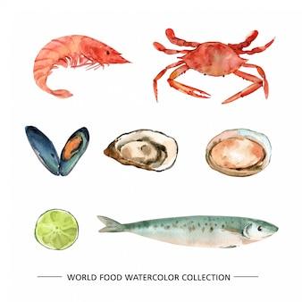 Reeks geïsoleerde makreel van de zeevruchtenwaterverf, oesters, mosselillustratie