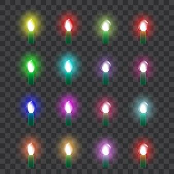 Reeks gekleurde neonglaslampen in retro stijl