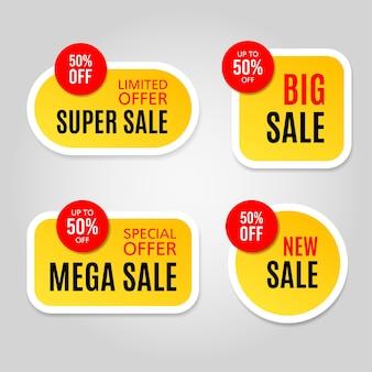 Reeks gele en rode stickers van de verkoopwebsite op een grijze achtergrond