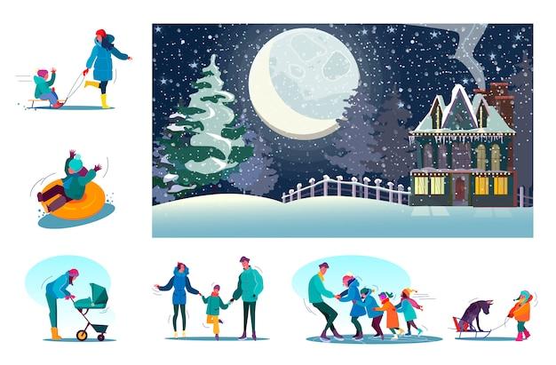 Reeks gelukkige families die van de winter genieten bij plattelandsgebied