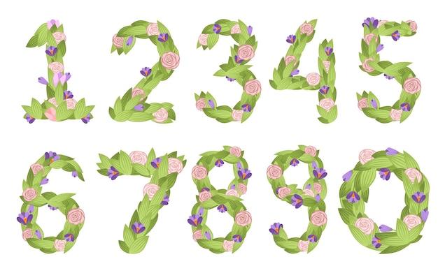 Reeks getallen cartoon bloem lettertype ontwerp nummer 0 tot 9 met bloemen en bladeren illustratie