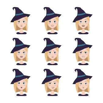 Reeks gezichtsuitdrukkingen van een vrouw met blond haar en blauwe ogen die een puntige heksenhoed draagt diff...