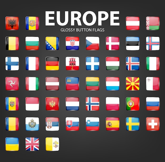 Reeks glanzende knoopvlaggen - europa. Premium Vector