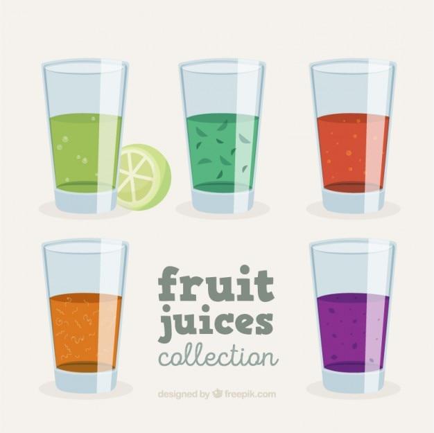 Reeks glazen met vruchtensappen
