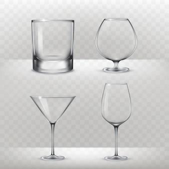 Reeks glazen voor alcohol in een realistische stijl