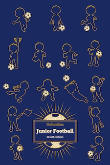 Reeks gouden contouren van jongensvoetbalsters.