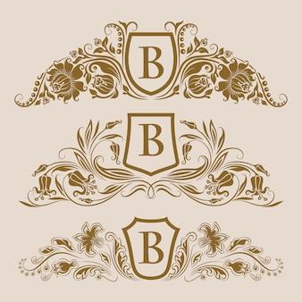 Reeks gouden koninklijke schilden met bloemenelementen voor pagina