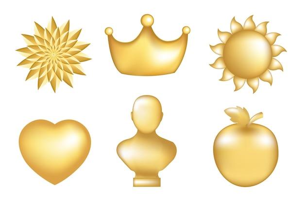 Reeks gouden pictogrammen, die op wit worden geïsoleerd