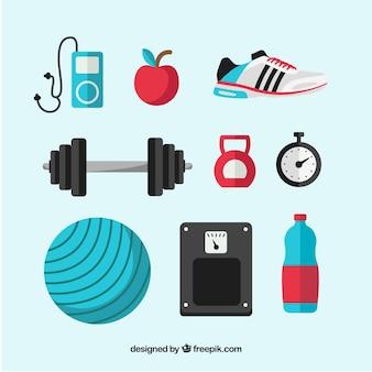 Reeks gymnastiekelementen met oefeningshulpmiddelen