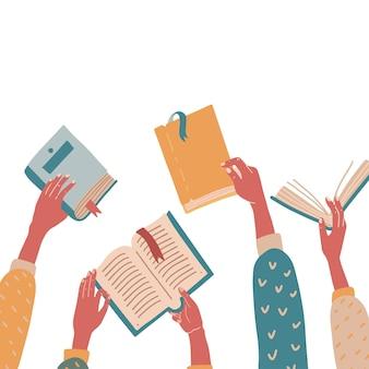 Reeks handen met kleurrijke boeken. concept platte vectorillustratie. onderwijs, school, leesthema.