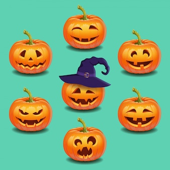 Reeks helder kleurrijk halloween-pompoenengezicht, emotie. grappige gezichten, herfstvakantie. jack o lantaarn pictogrammen emoties. vector illustratie.