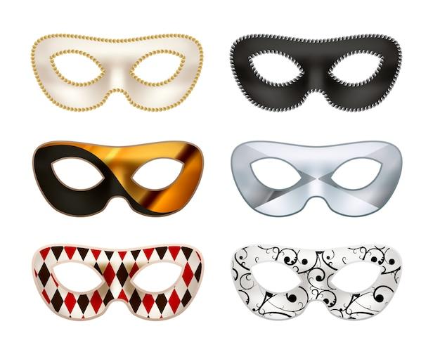 Reeks heldere kleurrijke maskerademaskers die op wit wordt geïsoleerd