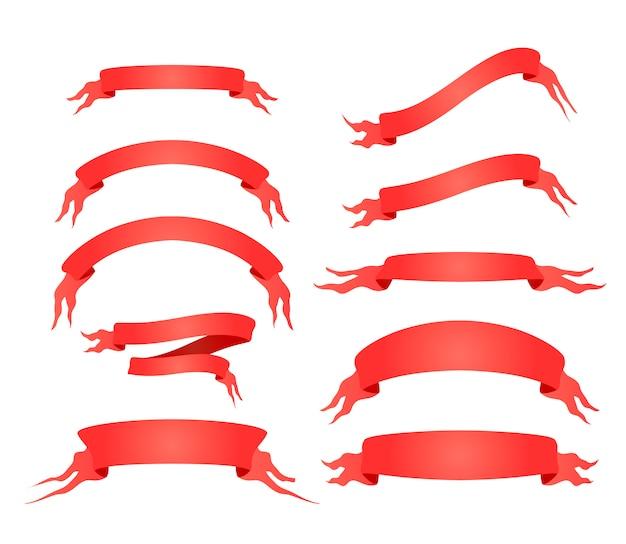 Reeks heldere rode elegante banden die op wit worden geïsoleerd