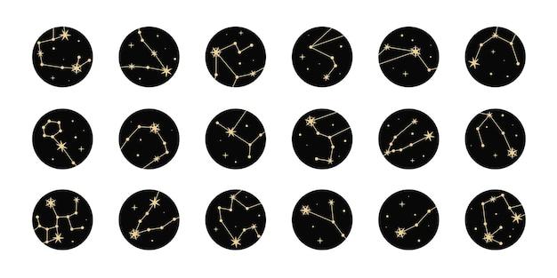 Reeks hoogtepunten met gouden sterren en sterrenbeelden. mystieke magische elementen, objecten van spiritueel occultisme. trendy minimale stijl.