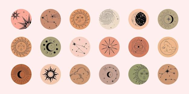 Reeks hoogtepunten met maan, zon, wolken, sterren en sterrenbeelden. mystieke magische elementen, objecten van spiritueel occultisme. trendy kleuren, minimale stijl.