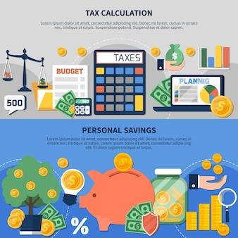 Reeks horizontale banners met belastingenberekening, begrotingsplanning, persoonlijke inkomsten en besparingen geïsoleerde vectorillustratie