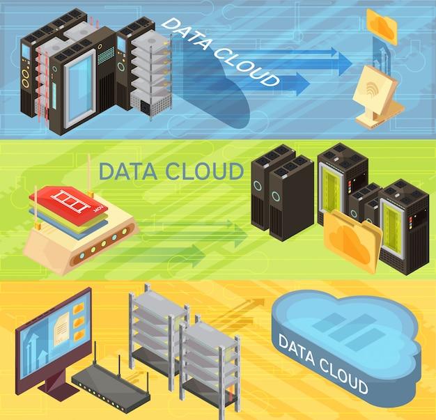 Reeks horizontale isometrische banners met gegevenswolk, informatieoverdracht, router, ontvangende servers, computer geïsoleerde vectorillustratie