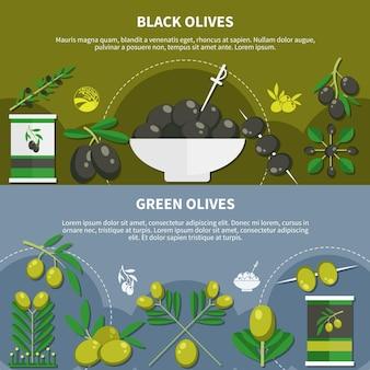Reeks horizontale vlakke banners met ingeblikte producten van zwarte en groene olijven geïsoleerde vectorillustratie
