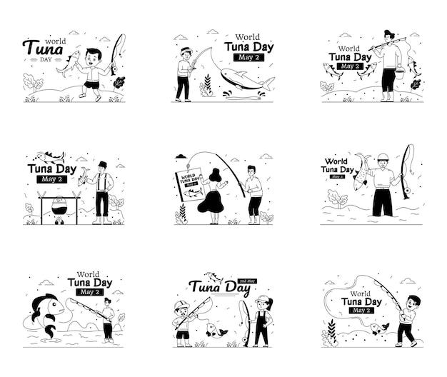 Reeks illustraties van wereldtonijndag