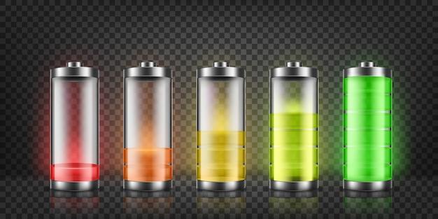Reeks indicatoren van de batterijlading met lage en hoge energieniveaus die op achtergrond worden geïsoleerd.