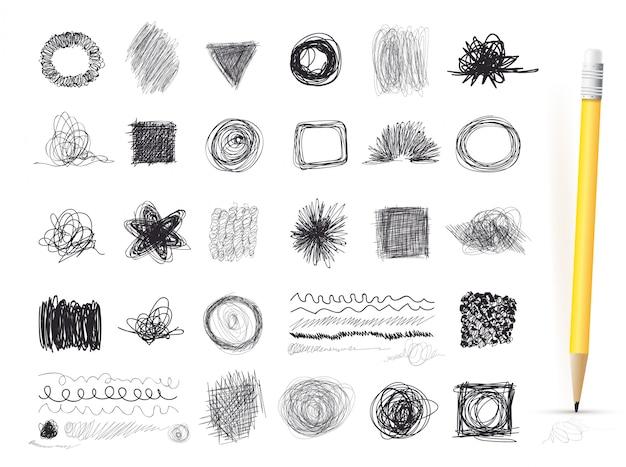 Reeks inktlijnen van hand getrokken texturen, gekrabbel van pen. vrije-stijltekenen. vector illustratie. geïsoleerd