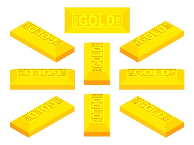 Reeks isometrische gouden staven