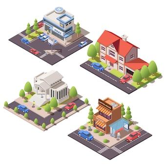 Reeks isometrische samenstellingen met 3d moderne stadswoon en openbare gebouwen die op witte illustratie worden geïsoleerd als achtergrond