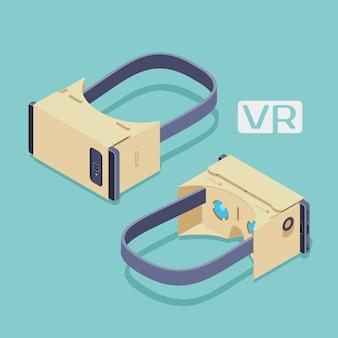 Reeks isometrische virtuele de werkelijkheidshoofdtelefoons van karton. de objecten zijn geïsoleerd tegen de blauwgroen achtergrond en worden van twee kanten getoond