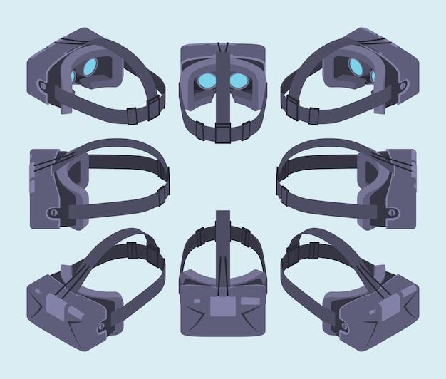 Reeks isometrische virtuele werkelijkheidshoofdtelefoons. de objecten worden geïsoleerd tegen de lichtblauwe achtergrond en vanaf verschillende kanten weergegeven