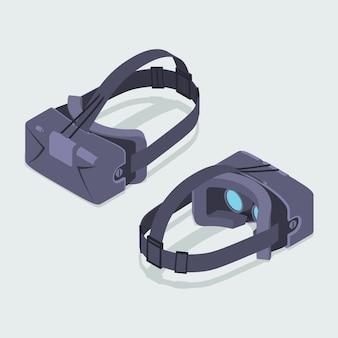 Reeks isometrische virtuele werkelijkheidshoofdtelefoons. de objecten worden geïsoleerd tegen de witte achtergrond en vanaf twee kanten getoond