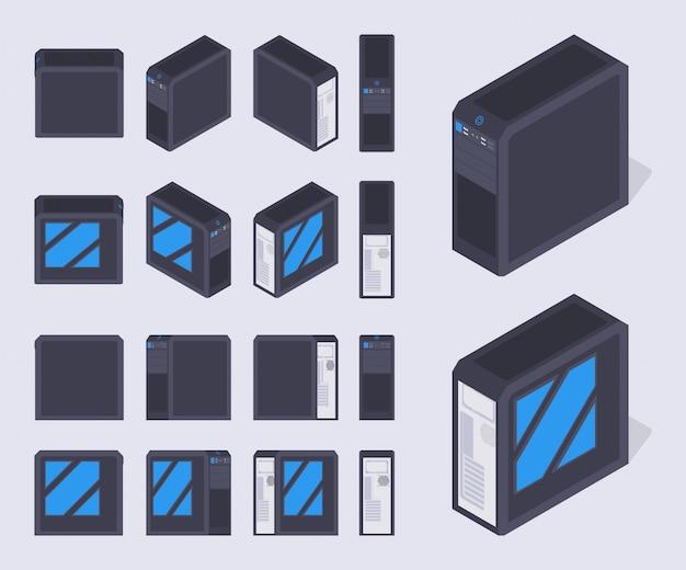 Reeks isometrische zwarte pc-gevallen